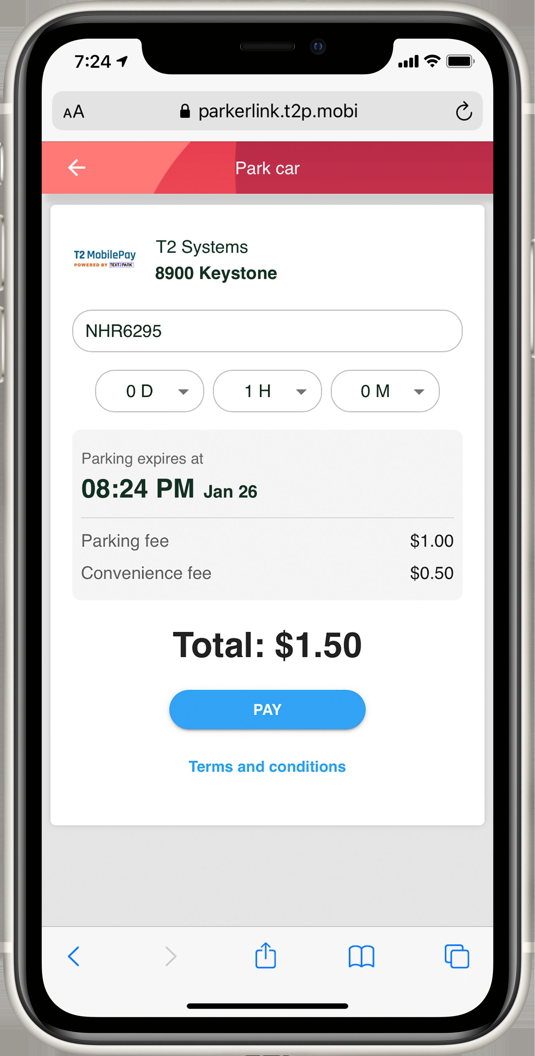 T2 MobilePay parking payment platform