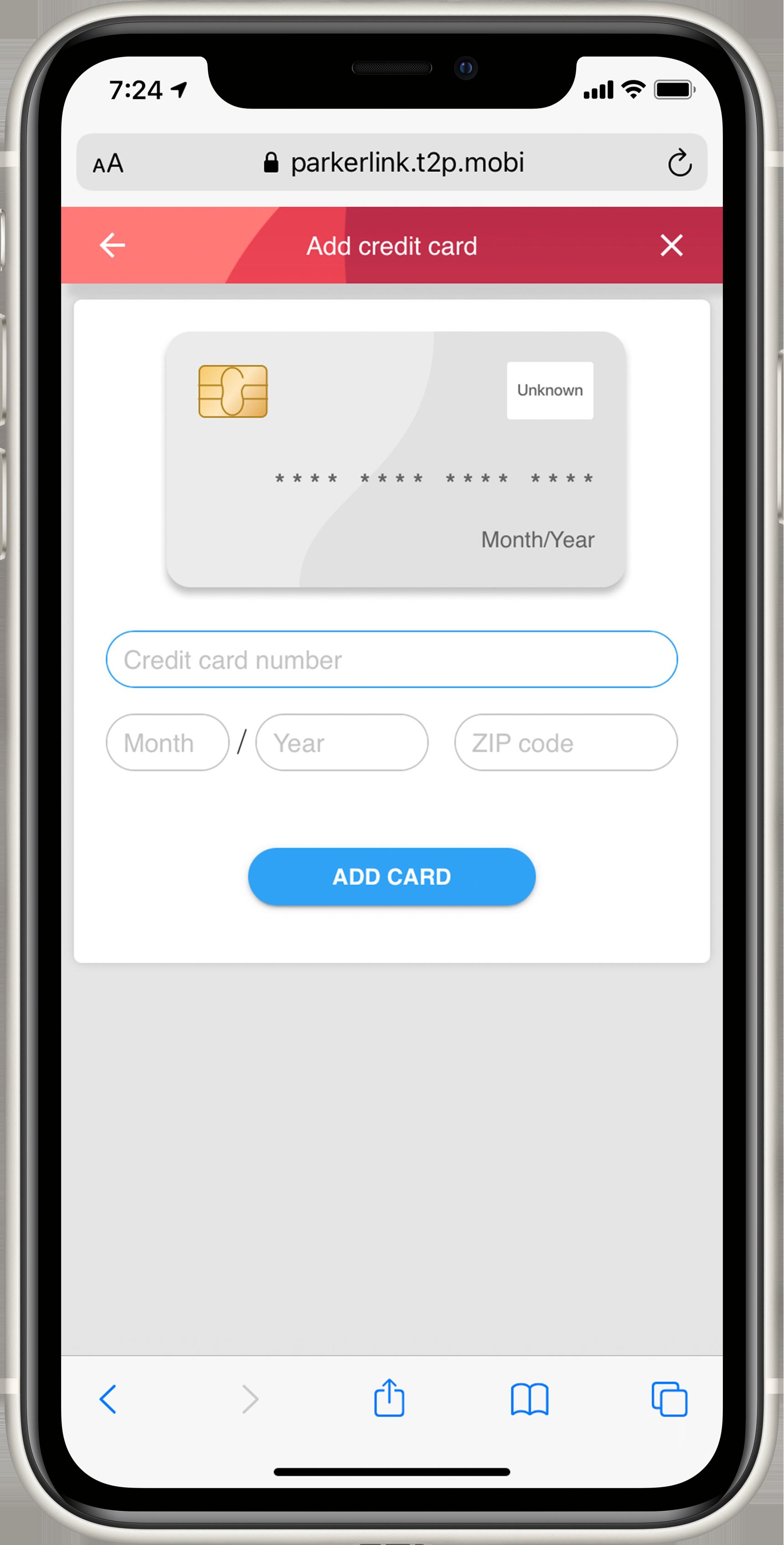 T2 MobilePay - Enter Credit Card