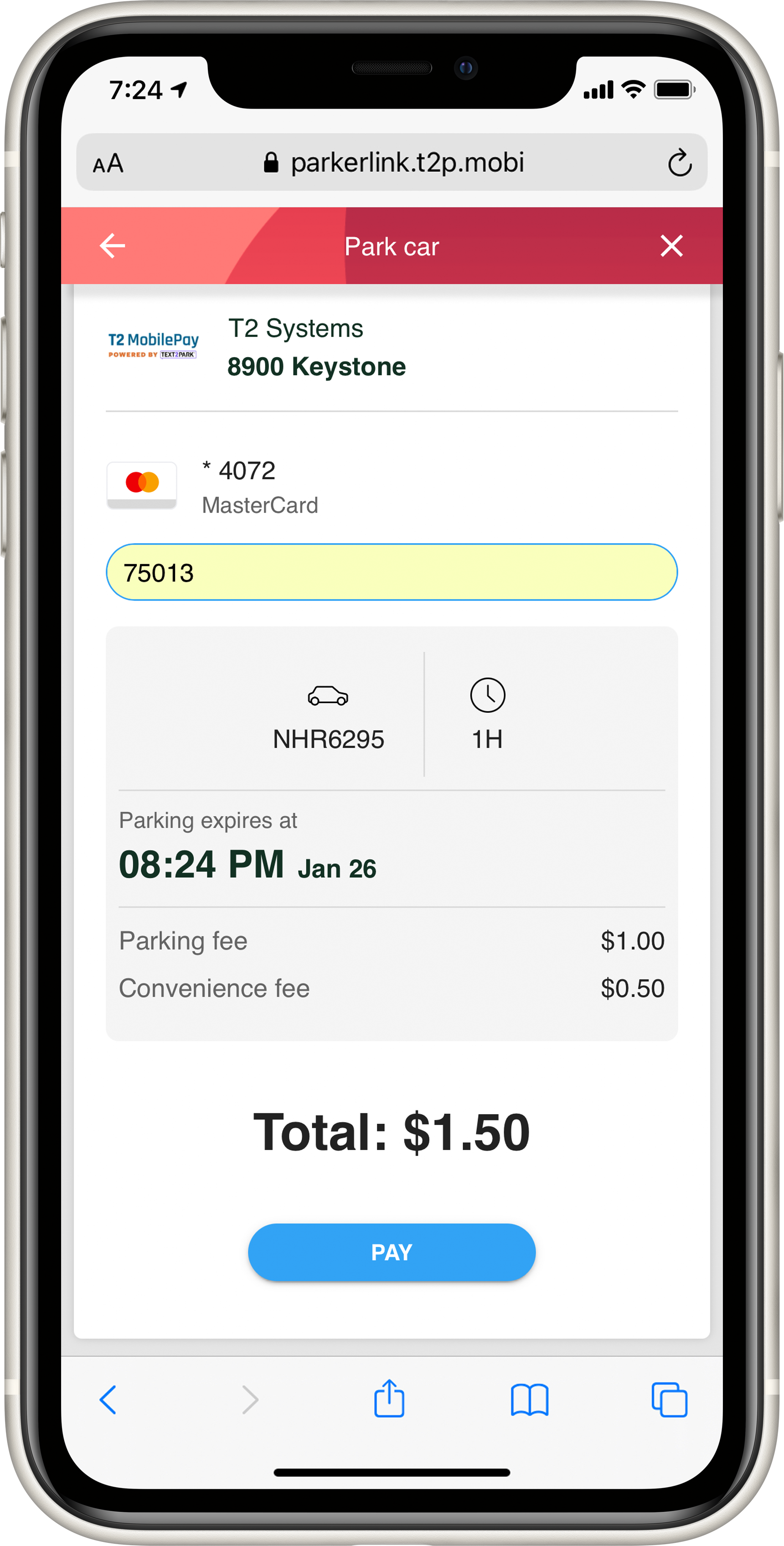 T2 MobilePay - Payment Screen