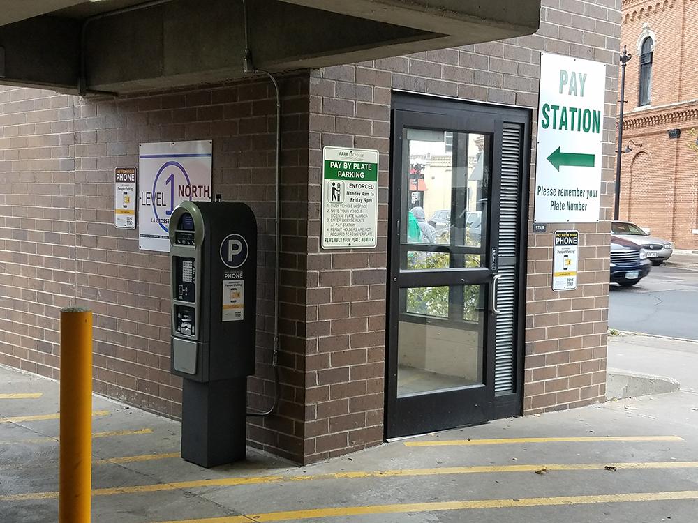 T2 Luke Pay Station inside City of La Crosse gateless garage