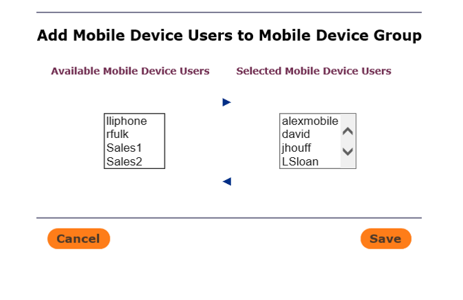Add Mobile Device Users to Mobile Device Group in T2 Flex